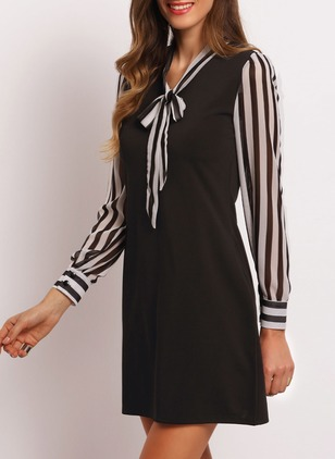 Cotton Stripe Long Sleeve Above Knee Dresses