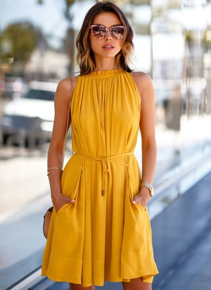Solid Ruffles Wrap Sleeveless A-line Dress