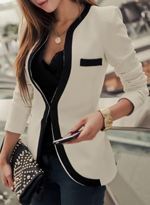 3/4 Sleeves Collarless Blazers
