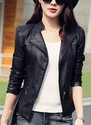 Leather & Faux Leather Long Sleeve Collar Zipper Jackets