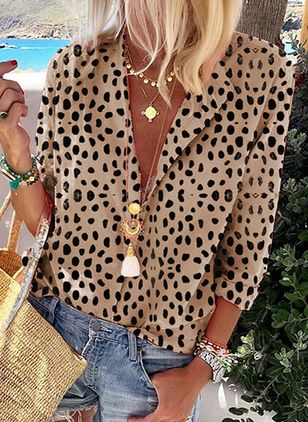 Leopard Casual Collar Long Sleeve Blouses (4864313)