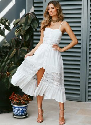 Solid Lace Slip Midi X-line Dress