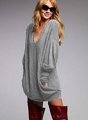 Cotton V-Neckline Solid Loose Long None Sweaters