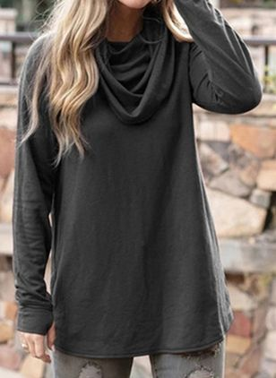 Solid Casual Draped Neckline Long Sleeve Blouses (108088324)
