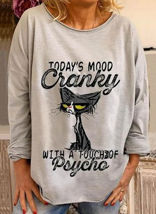 Animal Round Neck Long Sleeve Cute T-shirts (146964339)