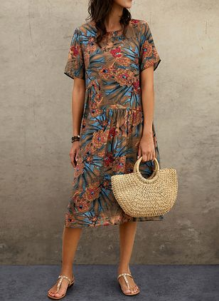Casual Floral Tunic Round Neckline Shift Dress (1536029)