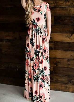 Casual Floral Round Neckline Maxi X-line Dress (5609222)