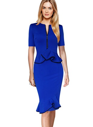 Cotton Solid Short Sleeve Knee-Length Sheath Dress