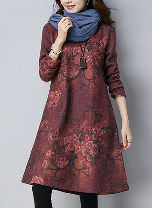 Floral Embroidery Long Sleeve Knee-Length A-line Dress