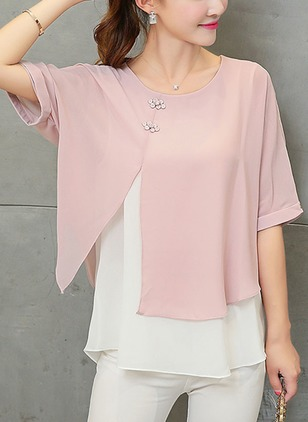 Color Block Casual Round Neckline Half Sleeve Blouses