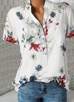 Floral Casual Stand Collar Short Sleeve Blouses (4663066)