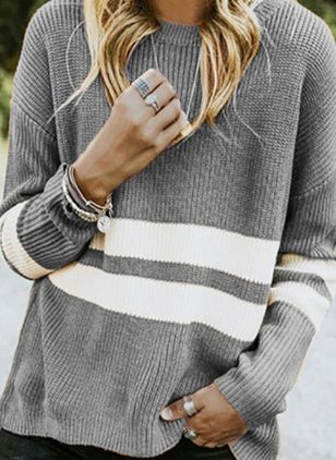 Round Neckline Color Block Casual Loose Regular Shift Sweaters (6211533)