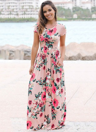Polyester Floral Cap Sleeve Maxi Dresses