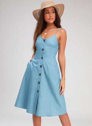 Solid Buttons Slip Knee-Length X-line Dress