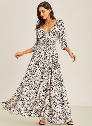 Arabian Animal V-Neckline Maxi X-line Dress (1381928)