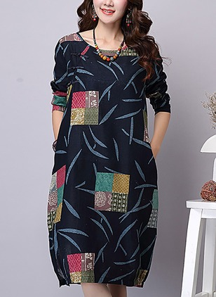 Geometric Pockets Long Sleeve Knee-Length Shift Dress