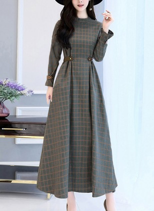 Long Sleeve Midi A-line Dress