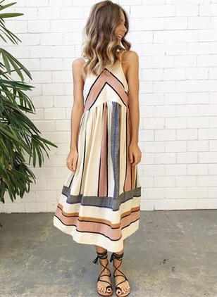 Stripe Sleeveless Midi Shift Dress