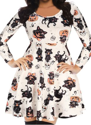 Halloween Color Block Round Neckline Above Knee X-line Dress (109556047)