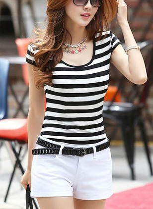 Stripe Casual Polyester Round Neckline Cap Sleeve Blouses