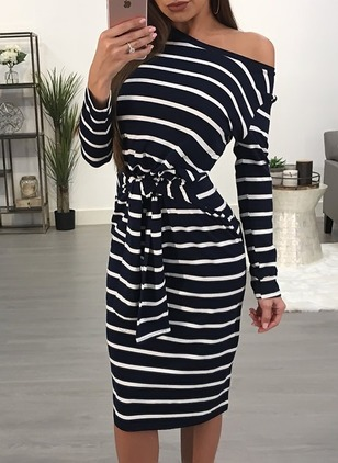 Stripe Wrap Long Sleeve Midi Sheath Dress
