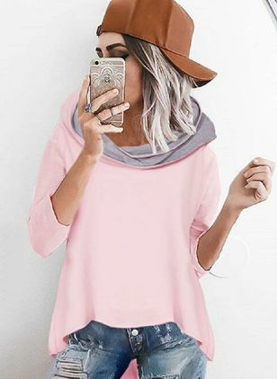 Hooded Color Block Casual Loose Long None Sweaters (1441568)