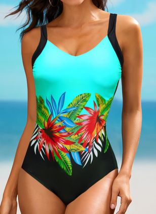 Polyester Floral One-piece Swimwear (147155928)