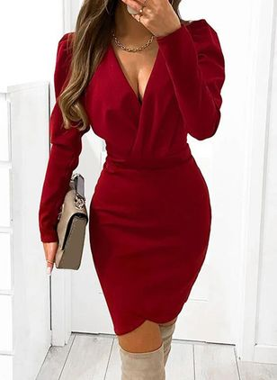 Casual Solid Pencil V-Neckline Bodycon Dress (146775282)