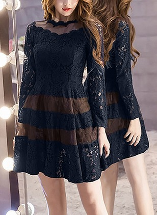 Solid Lace Long Sleeve A-line Dress