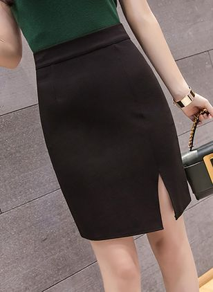Solid Above Knee Casual Skirts