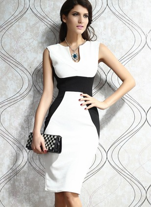 Cotton Color Block Sleeveless Knee-Length Bodycon Dress