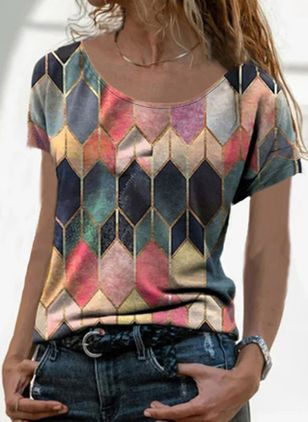Geometric Round Neck Short Sleeve Casual T-shirts (147017577)