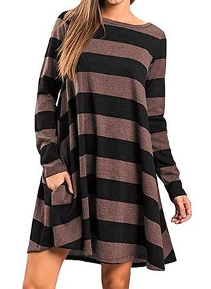 Casual Stripe Tunic Round Neckline A-line Dress (146718397)