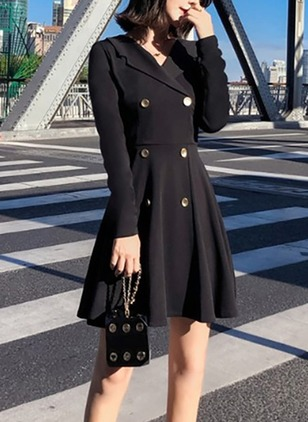 Solid Buttons Long Sleeve Above Knee A-line Dress