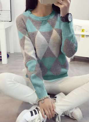 Round Neckline Geometric Loose Regular None Sweaters