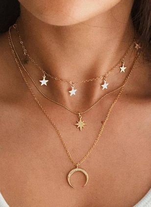 Casual Moon Star Crystal Pendant Necklaces (100667990)