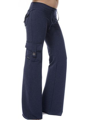 Casual Bootcut Buttons Pockets Low Waist Polyester Pants (147046426)