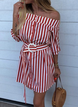 Stripe Wrap 3/4 Sleeves Above Knee A-line Dress