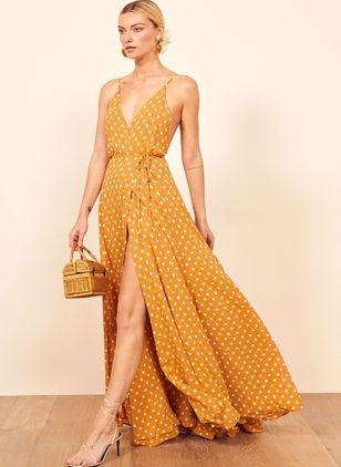 Polka Dot Slip Sleeveless Maxi X-line Dress