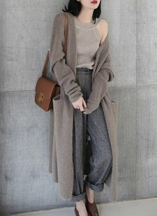 Others Solid Loose Long Pockets Sweaters