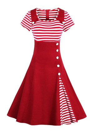 Stripe Buttons Drop waist Collar A-line Dress