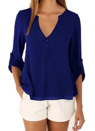 Solid Casual V-Neckline Half Sleeve Blouses (1488735)