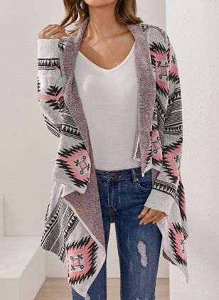 Long Sleeve Collarless Sweaters Coats (100547259)