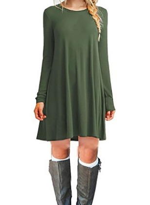 Solid Tshirt Long Sleeve Shift Dress