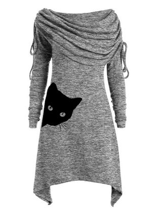 Casual Animal Tunic Round Neckline A-line Dress (120648980)