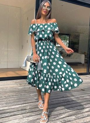Polka Dot Off the Shoulder Short Sleeve Midi X-line Dress