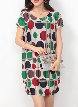 Cotton Blends Polka Dot Short Sleeve Above Knee Dresses