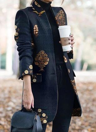 Long Sleeve Collarless Buttons Pockets Coats (107520844)