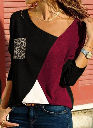 V-Neckline Color Block Casual Loose Regular Shift Sweaters (109974516)