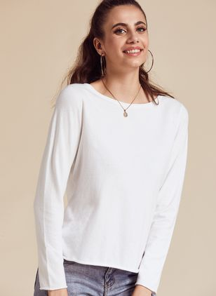Boat Neckline Solid Casual Loose Regular Shift Sweaters (4864485)